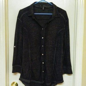 French Laundry Button Up Tunic W/ Crystal Buttons